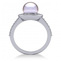 Pearl & Diamond Halo Engagement Ring 14k White Gold 8mm (0.54ct)