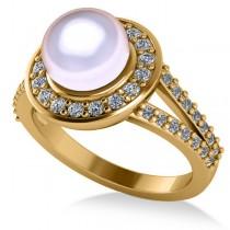 Pearl & Diamond Halo Engagement Ring 14k Yellow Gold 8mm (0.54ct)