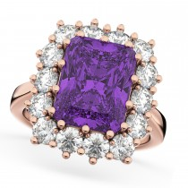 Emerald Cut Amethyst & Diamond Lady Di Ring 14k Rose Gold (5.68ct)
