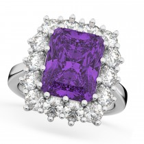 Emerald Cut Amethyst & Diamond Lady Di Ring 14k White Gold (5.68ct)