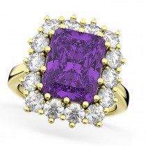 Emerald Cut Amethyst & Diamond Lady Di Ring 14k Yellow Gold (5.68ct)