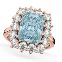 Emerald Cut Aquamarine & Diamond Lady Di Ring 14k Rose Gold (5.68ct)