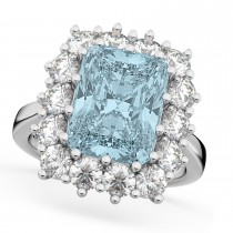 Emerald Cut Aquamarine & Diamond Lady Di Ring 14k White Gold (5.68ct)