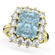 Emerald Cut Aquamarine & Diamond Lady Di Ring 14k Yellow Gold (5.68ct)