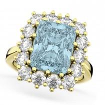Emerald Cut Aquamarine & Diamond Lady Di Ring 18k Yellow Gold (5.68ct)
