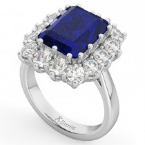 Emerald Cut Blue Sapphire & Diamond Lady Di Ring 14k White Gold 5.68ct