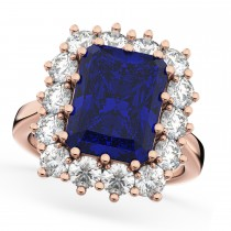 Emerald Cut Blue Sapphire & Diamond Lady Di Ring 18k Rose Gold 5.68ct