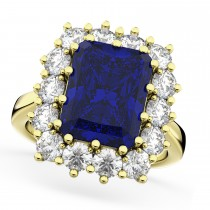 Emerald Cut Blue Sapphire & Diamond Lady Di Ring 18k Yellow Gold 5.68ct