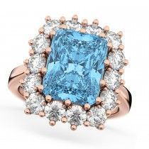 Emerald Cut Blue Topaz & Diamond Lady Di Ring 18k Rose Gold (5.68ct)