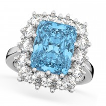 Emerald Cut Blue Topaz & Diamond Lady Di Ring 18k White Gold (5.68ct)