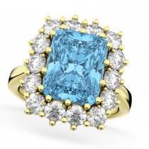 Emerald Cut Blue Topaz & Diamond Lady Di Ring 18k Yellow Gold (5.68ct)