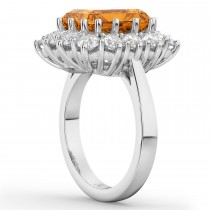 Emerald Cut Citrine & Diamond Lady Di Ring 14k White Gold (5.68ct)