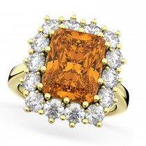 Emerald Cut Citrine & Diamond Lady Di Ring 14k Yellow Gold 5.68ct