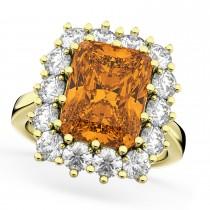 Emerald Cut Citrine & Diamond Lady Di Ring 14k Yellow Gold 5.68ct