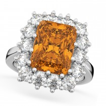 Emerald Cut Citrine & Diamond Lady Di Ring 18k White Gold (5.68ct)