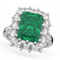 Emerald Cut Emerald & Diamond Lady Di Ring 18k White Gold (5.68ct)