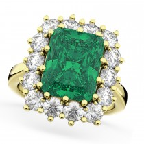 Emerald Cut Emerald & Diamond Lady Di Ring 18k Yellow Gold (5.68ct)