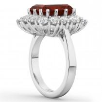 Emerald Cut Garnet & Diamond Lady Di Ring 14k White Gold (5.68ct)