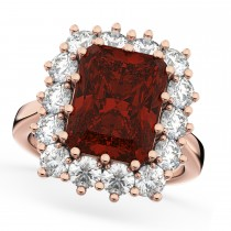 Emerald Cut Garnet & Diamond Lady Di Ring 18k Rose Gold (5.68ct)