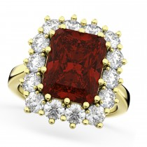 Emerald Cut Garnet & Diamond Lady Di Ring 18k Yellow Gold (5.68ct)