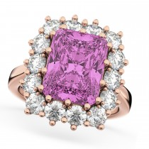 Pink Sapphire & Diamond Lady Di Ring 18k Rose Gold (5.68ct)