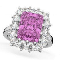 Pink Sapphire & Diamond Lady Di Ring 18k White Gold (5.68ct)