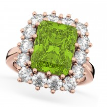 Peridot & Diamond Lady Di Ring 14k Rose Gold (5.68ct)
