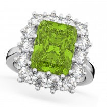 Peridot & Diamond Lady Di Ring 14k White Gold (5.68ct)