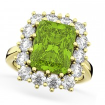 Peridot & Diamond Lady Di Ring 14k Yellow Gold 5.68ct