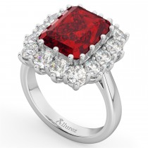 Emerald Cut Ruby & Diamond Lady Di Ring 14k White Gold (5.68ct)