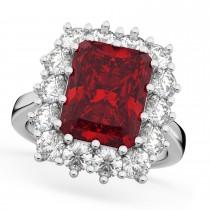 Emerald Cut Ruby & Diamond Lady Di Ring 18k White Gold (5.68ct)