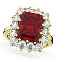 Emerald Cut Ruby & Diamond Lady Di Ring 18k Yellow Gold (5.68ct)