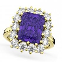 Emerald Cut Tanzanite & Diamond Lady Di Ring 18k Yellow Gold (5.68ct)