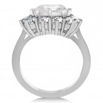 Emerald Cut White Topaz & Diamond Lady Di Ring 14k White Gold (5.68ct)
