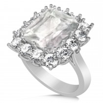 Emerald Cut White Topaz & Diamond Lady Di Ring 18k White Gold (5.68ct)