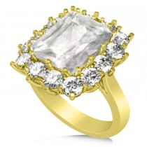 White Topaz & Diamond Lady Di Ring 18k Yellow Gold (5.68ct)