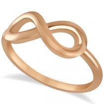 Plain Metal Infinity Loop Right-Hand Fashion Ring in 14k Rose Gold