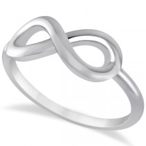 Plain Metal Infinity Loop Right-Hand Fashion Ring in 14k White Gold