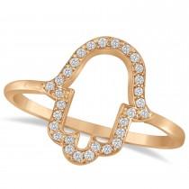 Hand of God Hamsa Ladies Diamond Ring 14k Rose Gold (0.15ct)