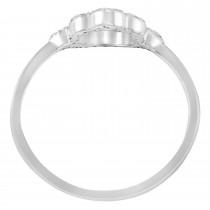 Hand of God Hamsa Ladies Diamond Ring 14k White Gold (0.15ct)