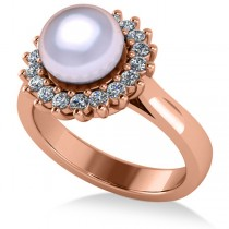 Pearl & Diamond Halo Engagement Ring 14k Rose Gold 8mm (0.36ct)