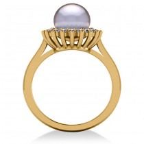 Pearl & Diamond Halo Engagement Ring 14k Yellow Gold 8mm (0.36ct)