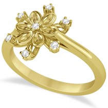 Small Diamond Snowflake Shaped Fashion Ring 14k Yellow Gold (0.10ctw)