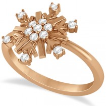 Large Diamond Snowflake Shaped Fashion Ring 14k Rose Gold (0.20ctw)