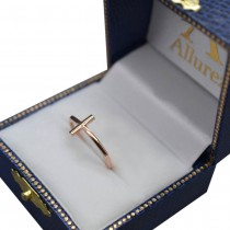 Curved Sideways Cross Ring for Women 14K Rose Gold