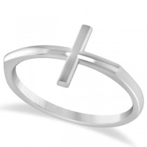 Curved Sideways Cross Ring for Women 14K White Gold