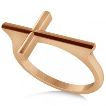 Straight Sideways Cross Ring for Women 14K Rose Gold
