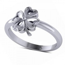 Heart Clover Fashion Ring in Plain Metal 14k White Gold