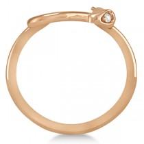 Diamond Eyed Snake Fashion Ring in 14k Rose Gold .03 carat