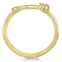 Diamond Eyed Snake Fashion Ring in 14k Yellow Gold .03 carat